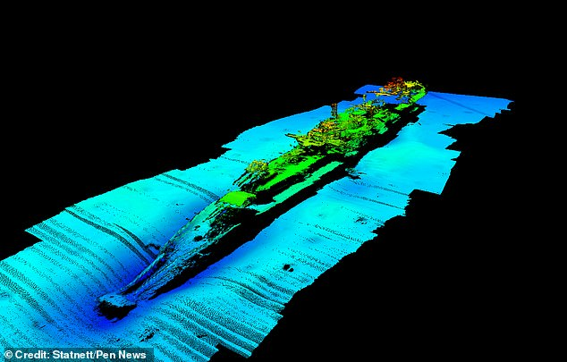The site of the wreck has been a mystery for 80 years - until now. It was found off the coast of Norway by the Norwegian energy company, Statnett. Pictured: a survey of debris