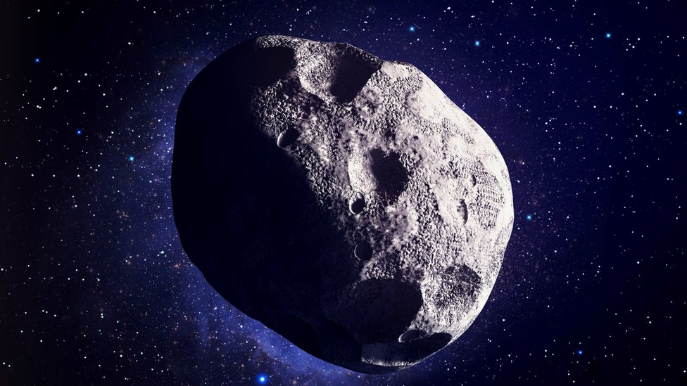 An illustration of an asteroid