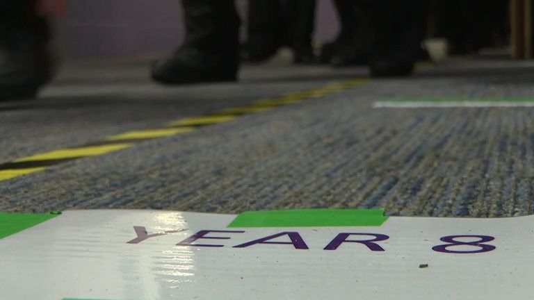 Signs and tapes are used to keep students isolated at the Grace Academy in Solihull