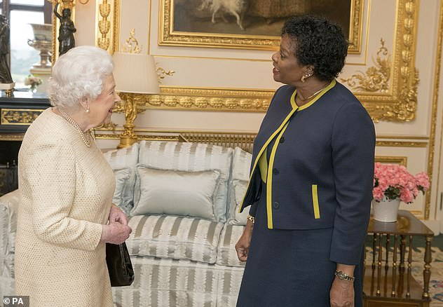 Looking back: The Queen was photographed with the Governor General of Barbados Lady Sandra Mason at Windsor Castle in 2018