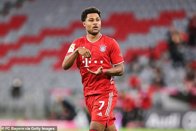 Bayern Munich's Gnabry celebrated scoring his team's first goal on Friday evening