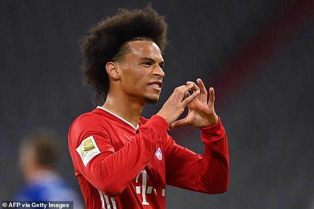 Sani celebrates scoring the European champions' seventh goal against Schalke 04