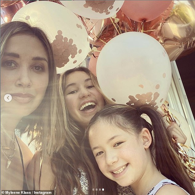 Very cheerful: Milene said she wanted to make her daughters Ava, 13, and Hiro, 9, a fan of skiing themselves, proud and `` show them I take on the challenge when I'm completely out of my comfort zone '' by competing on the show