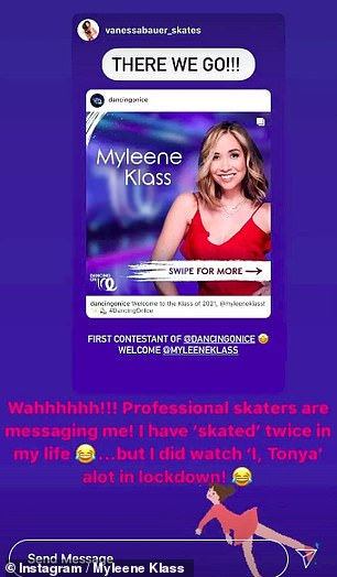 Joker: She also wrote that she only skated twice in her life but she joked that she watched I, Tonya Alot in Lockdown, in response to Vanessa Bauer's message