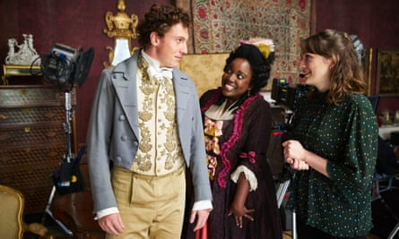 That's the spirit ... Adefope in Ghosts with Rory Flick Byrne and Charlotte Richie.