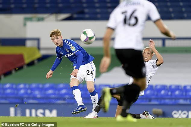 Anthony Gordon was not so lucky as he did not score in Everton's second-round match against Salford City