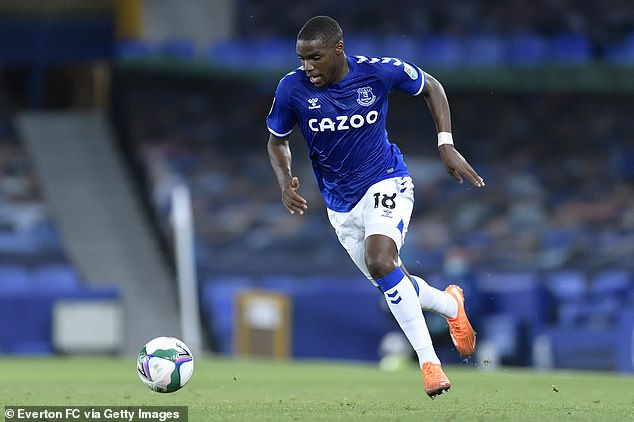 Nils Nkunku made his debut for Everton in the 3--0 win over Salford City in the second round