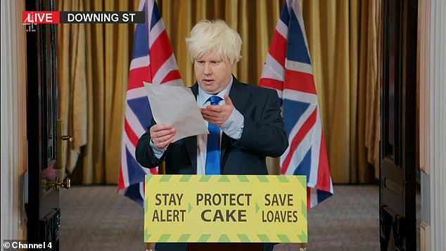 Bumbling Boris: In the sitcom Matt, who wore a platinum blonde wig and stood in front of the Union Jack flag, muttered to himself in a strange impersonation of the Prime Minister