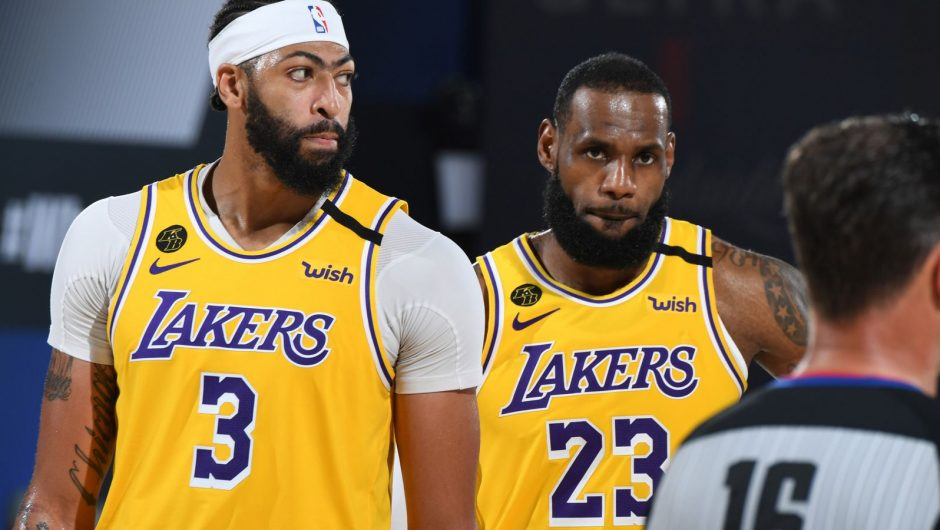 Anthony Davis and LeBron James in action during the Lakers' Game 4 win over the Nuggets in the Western Conference Finals