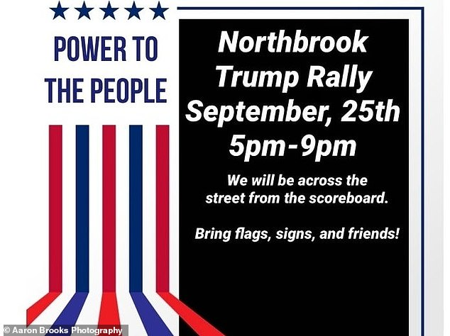 Pictured: Flyer for the Northbrook Trump Rally event held on Friday
