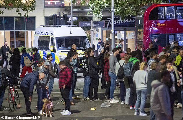 A curfew in Boris Johnson's bars and restaurants at 10 pm came into effect on Thursday last week.  Pictured is Downtown Bristol on Saturday night