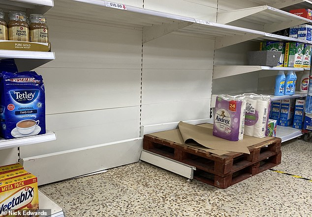 The prime minister's recent coronavirus restrictions have raised fears of panic buying again.  A picture of a shop in southeast London today