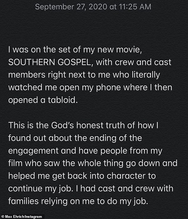 `` The Honest Truth of God '': The 29-year-old actor claimed Saturday morning that his film crew and crew watched him learn about his breakup `` on a tabloid '' while on the set of Atlanta