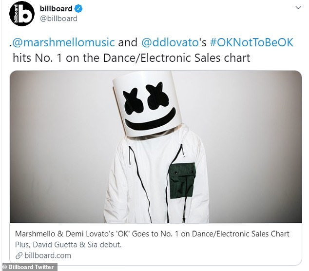 Congratulations!  Professionally, Demi's three-year collaboration topped with DJ Marshmello - Ok Not to Be Ok - Billboard Dance / Electronic Sales chart last Thursday.