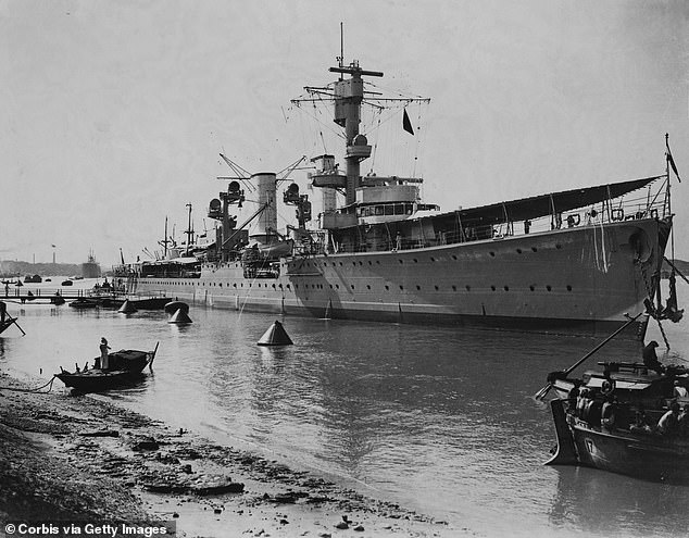 The Nazi warship, Karlsruhe, (pictured) was returning from invading Norway in 1940 when it was hit by a torpedo from a British submarine, the HMS Truant