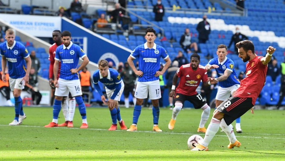 Brighton 2-3 Manchester United: stoppage time from penalty kick Bruno Fernandez wins by five thrilling goals