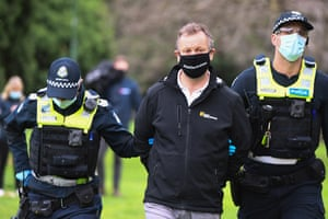A person arrested during an anti-lockdown protest in Melbourne.