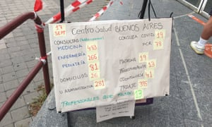 A sign outside the Buenos Aires health center in Madrid on Friday.