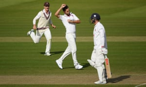 Lewis Gregory of Somerset celebrates the little gate of Simon Harmer of Essex.