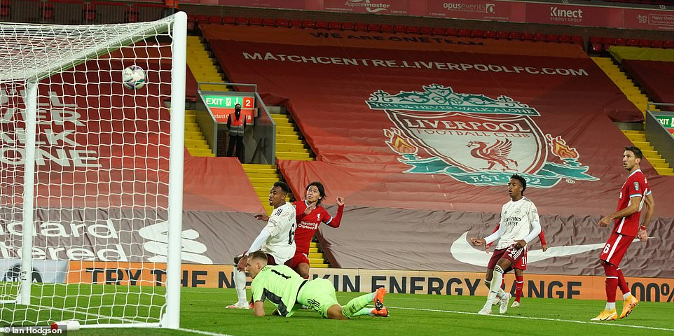 Takumi Minamino missed Liverpool's best chance to score during the first period when a rebound hit the bar