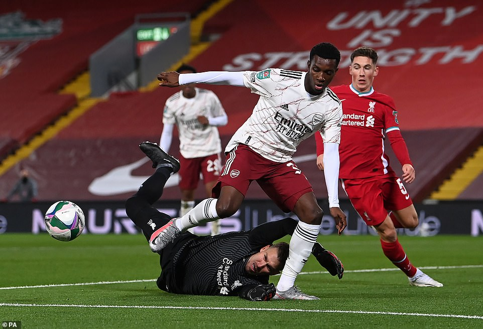 Arsenal striker Eddie Nikitiah missed an early opportunity to put his side ahead after being frustrated by Liverpool's Adrian.