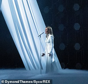Solo: Amanda stood alone on the stage amid the coronavirus crisis