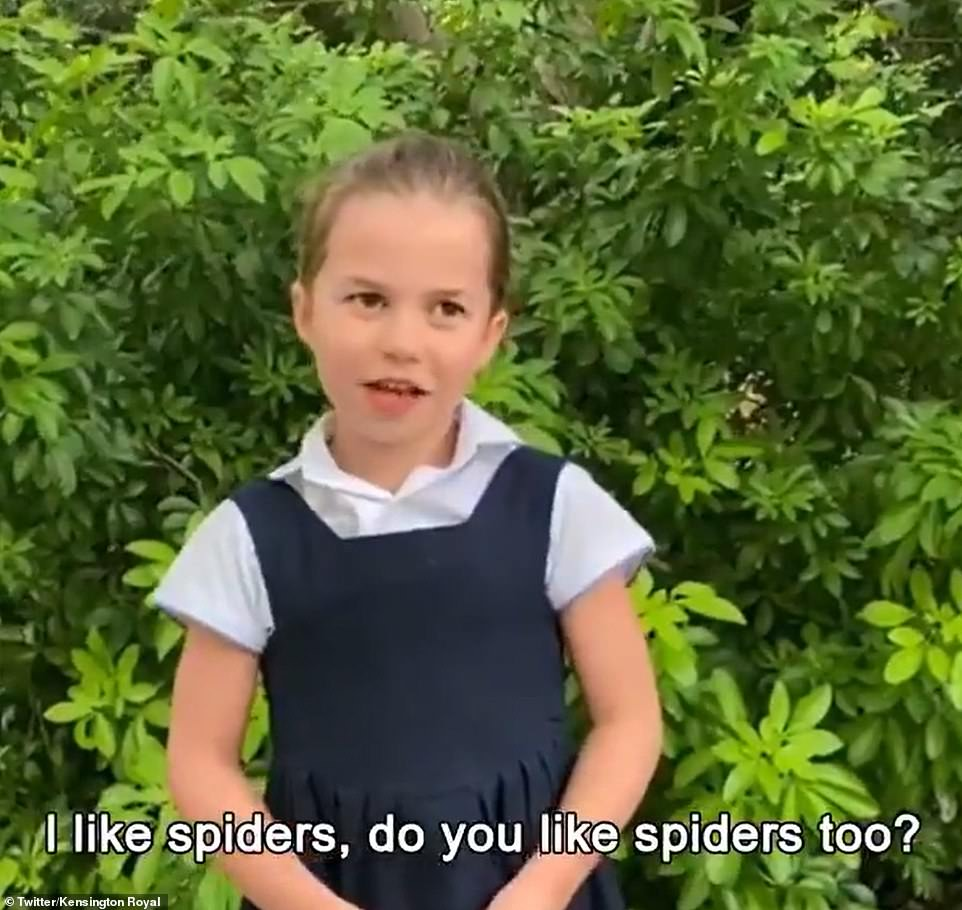 Princess Charlotte, who can be seen with her hair scraped in a ponytail and in her school uniform, says: 'Hey David Attenborough, I love spiders, do you like spiders too?