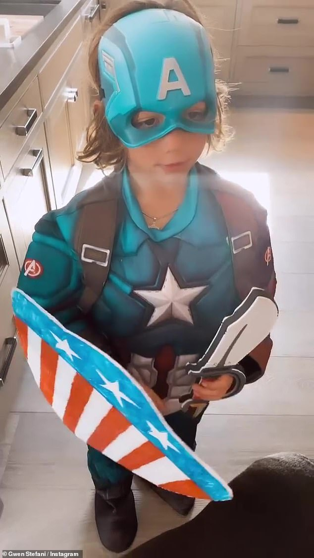 Baby Mine: One of her beloved children was dressed as Captain America on the big day, so Gwen affectionately mocked him while walking around in his costume