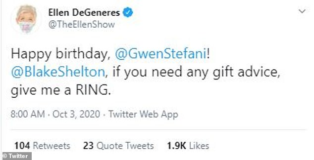 Jokes: Ellen DeGeneres chimes with the perfect gift for Gwen: