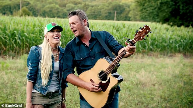 Duet: The 44-year-old country singer took to Instagram with an affectionate photo of the couple from the Happy Anywhere music video
