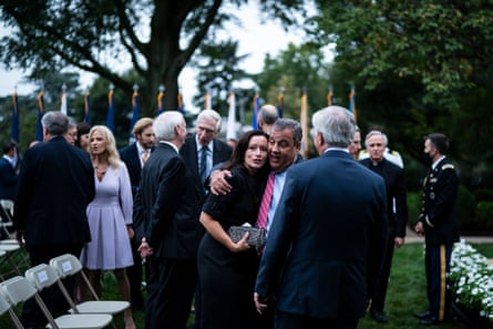 Chris Christie greets others after President Donald J. Trump spoke with Judge Amy Connie Barrett during a ceremony to announce Barrett as a Supreme Court nominee in the White House Rose Garden on Saturday, September 26, 2020 in Washington, DC.