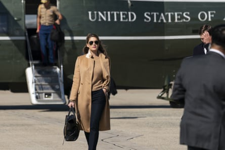 Presidential Adviser Hope Hicks walks from Marine One to escort President Donald Trump on Air Force One as he departs on Wednesday, September 30, 2020, at Andrews Air Force Base, MD.  Hope, President Donald Trump and First Lady Melania Trump have everything that has tested positive for the Coronavirus.