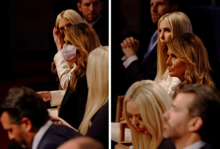 This combination of two photos shows First Lady Melania Trump wearing a face mask and then going without it with the rest of the Trump family, including (from the foreground) Donald Trump Jr., Tiffany Trump, Ivanka Trump and Eric Trump, before the start.  The first presidential debate between US President Donald Trump and Democratic presidential candidate Joe Biden in Cleveland, Ohio, United States, September 29, 2020. Photos taken on September 29, 2020.