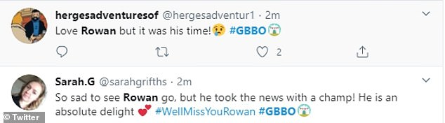 Good-bye!  After last week's end, fans weren't surprised to see Rowan leave the show, although many still took to Twitter to admit that they would always miss his optimistic nature.