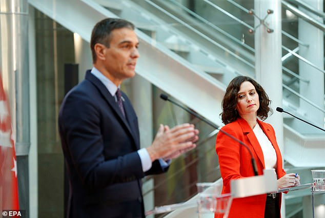 Spanish Prime Minister Pedro Sanchez (left) speaks during the bilateral press conference with Madrid's regional president Isabel Diaz Ayuso (right) following a meeting in Madrid last month.