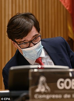 Spanish Health Minister Salvador Illa sits before the Health Committee of the House of Representatives appears on Thursday