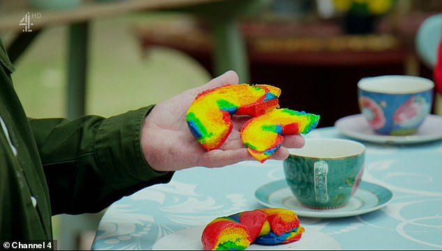 Rainbow: During lockdown, when Bake Off was filmed, the rainbow flag also became a symbol of hope for the NHS while fighting the coronavirus pandemic