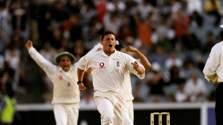 Darren Gove from England celebrates after winning his fourth Ash Test against Australia in Melbourne