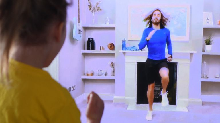 Four-year-old Lois Copley-Jones shares a live PE broadcast with fitness trainer Joe Wicks