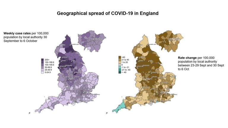Map showing the rate of weekly coronavirus cases (left) and rate change (right)