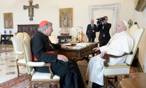 Cardinal George Bell attends a private meeting with Pope Francis on Monday.
