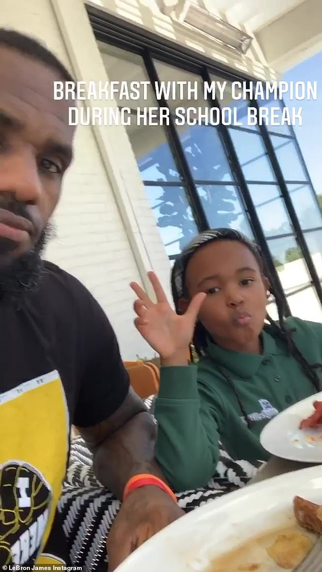 Family Time: LeBron also shared a cute clip of the duo while they were having breakfast together in the main patio