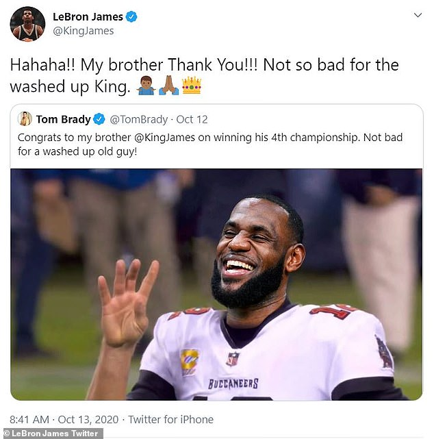 Not bad!  LeBron responded to soccer star Tom Brady on Tuesday after he congratulated him with a cheeky tweet
