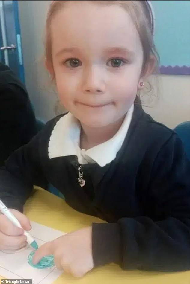 Little Summer, five, (pictured) mistook the bottle as a hand freshener and assumed it was her, due to the brand name, and started using it on her hands to get rid of germs