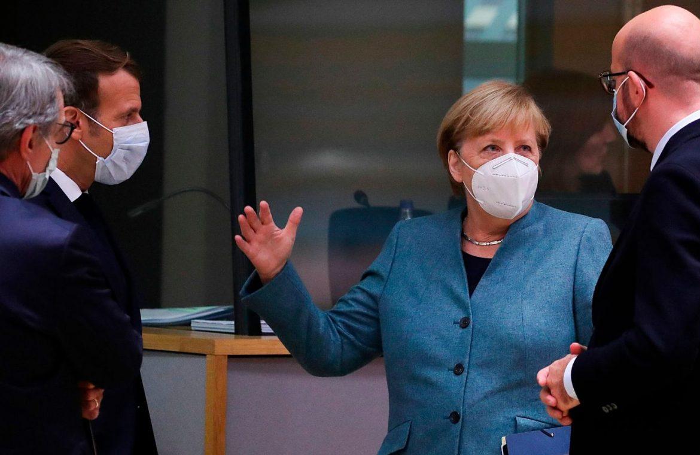 European Council President Charles Michel, Germany's Chancellor Angela Merkel and France's President Emmanuel Macron