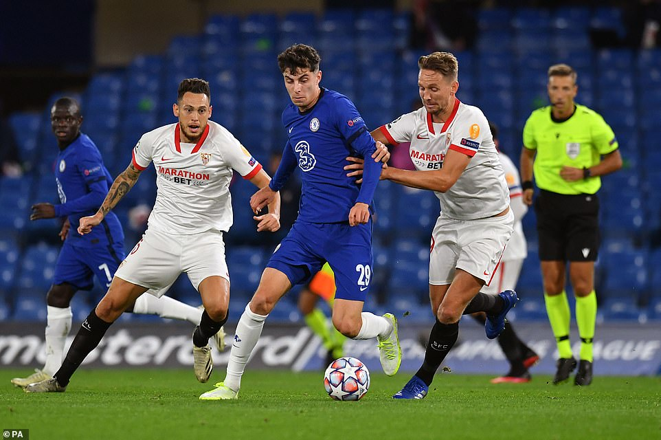 Havertz started playing and was influential in his Champions League debut with Chelsea on Tuesday night in the group stage