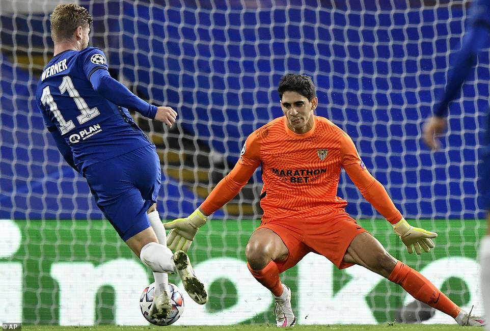 Chelsea striker Timo Werner was unable to turn in the first half after he got a good chance against Sevilla