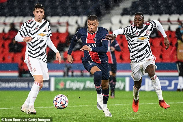 Kylian Mbappe (center) struggled to make his mark as he was organized by the United defense