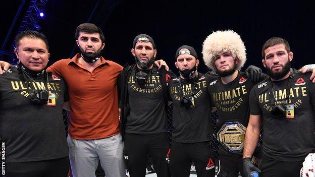 Khabib Nurmagomedov (second from right) with his team