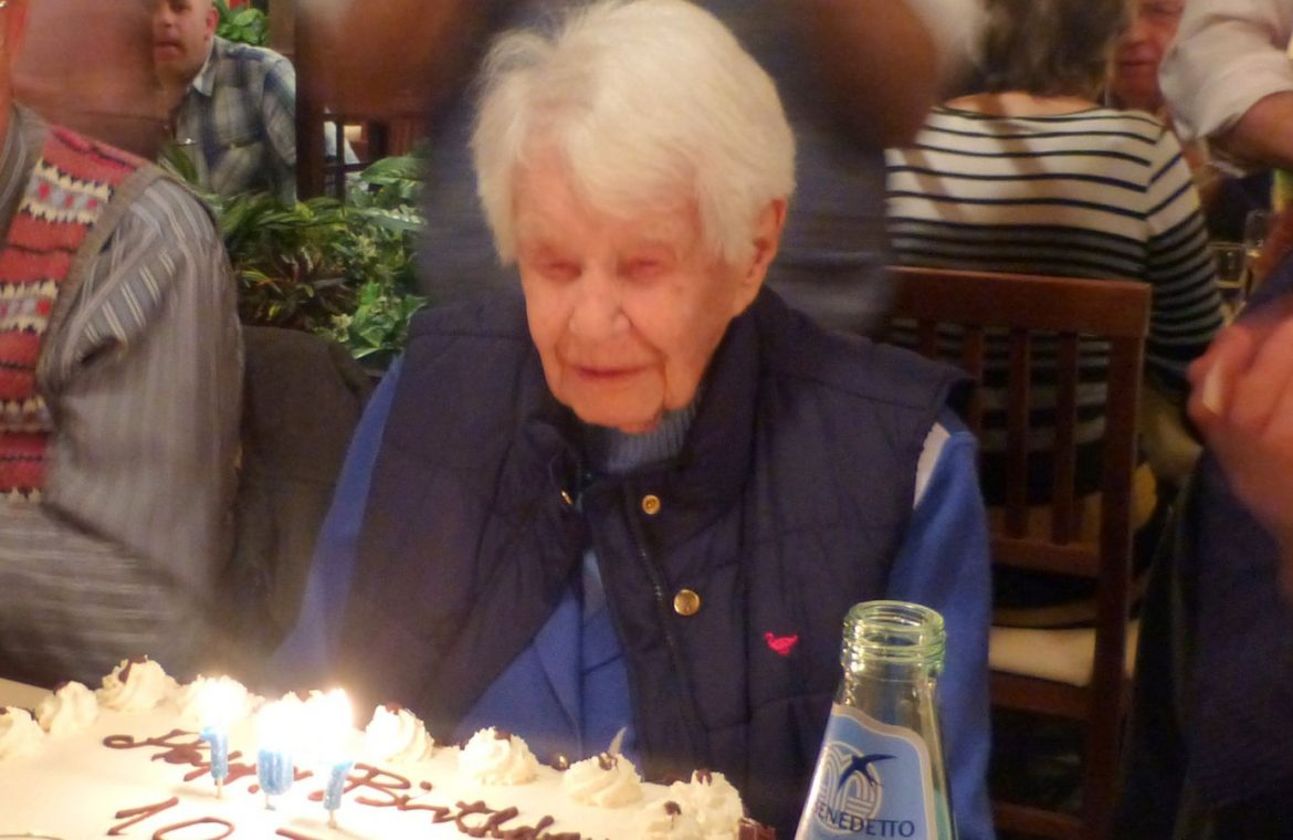 Joan Hocquard celebrating her 112th birthday with family and friends